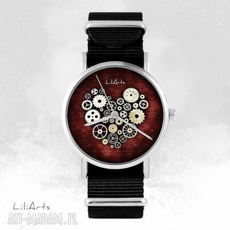 zegarek - steampunk heart, bordo czarny, nato, zegarek, bransoletka, nato