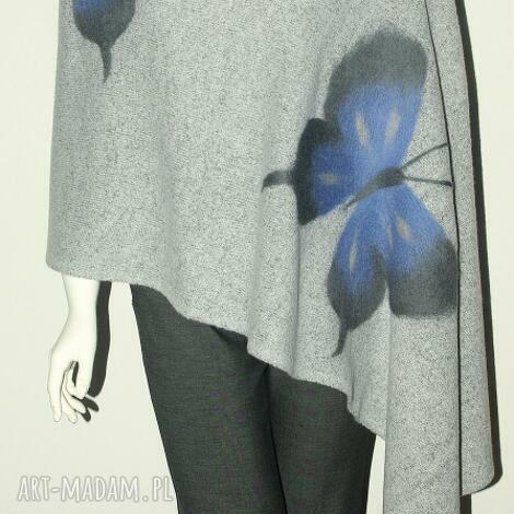 szal filcowany - filcowanie, motyle, wełna, prezent, dzianina