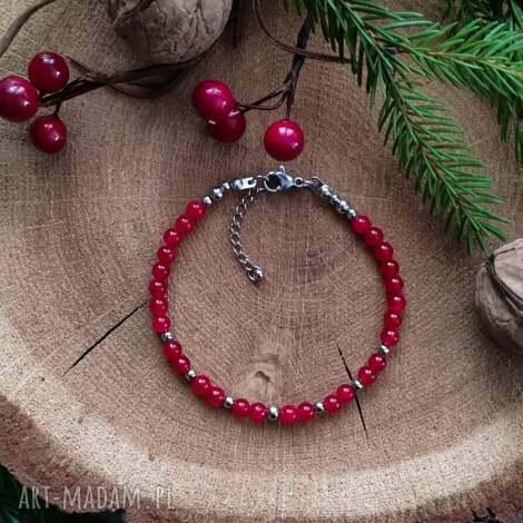 bransoletka z czerwonym jadeitem, na prezent, prezent dla kobiety