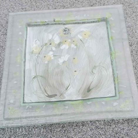 szklana patera 28 x cm kwiatki, fusing, patera, malowane, talerze, szklane