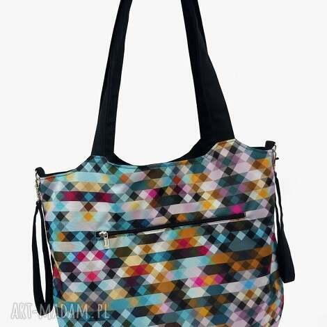 torba shopper z mocowanim do wózka piksele, shopperka, wózka, torebka worek