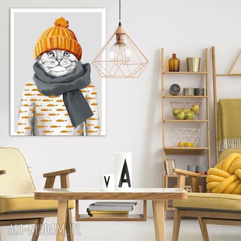 obraz drukowany na płótnie mały kotek w czapce formacie 60x80cm 02342 - kot