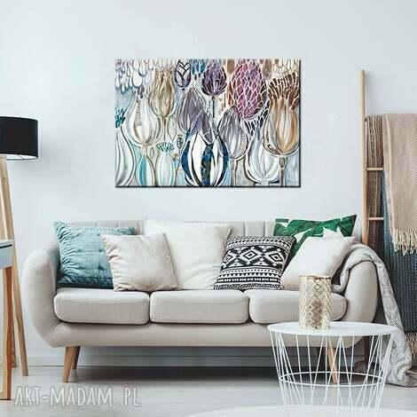 obraz akryl na płótnie - kwiaty polne, ręcznie, malowany płótno