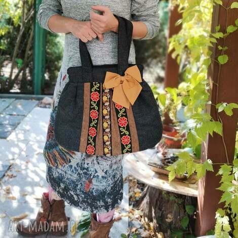 na ramię torba boho z kokarda świetna, ostatnia, retro, folk, prezent