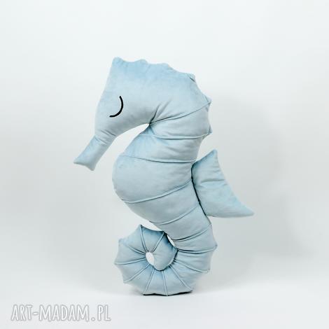 poduszka przytulanka konik morski - niebieski aksamit - konik, poduszka, maskotka