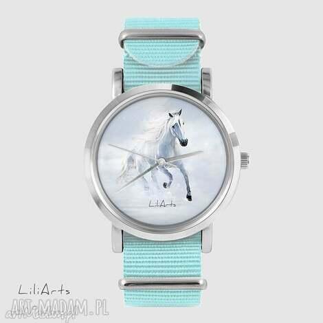 zegarek, bransoletka - biały koń biegnący niebieski, nato