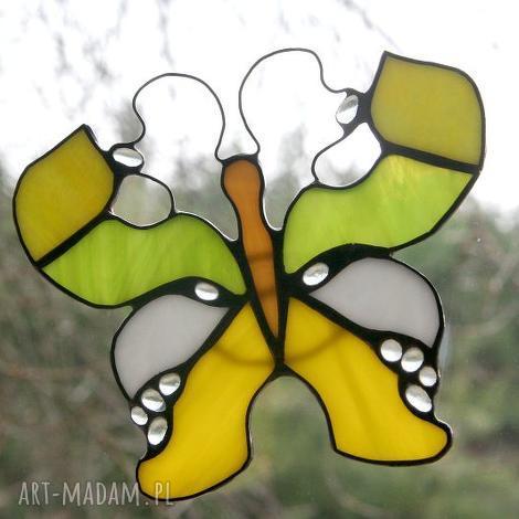 cytrynek kropelkowy, witraż, motyl, zawieszka, dekoracja, okno, wiosna