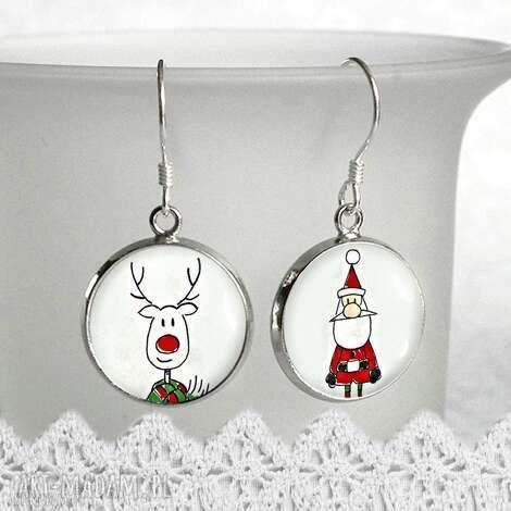 kolczyki świąteczne - prezent na mikołajki, mikołaj, renifer, święta
