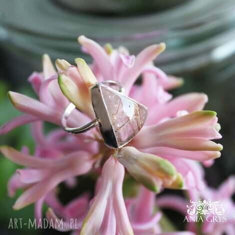 pierścionek z kwarcem rutylowy, kwarc, srebrny, pierścionek, klasyczny
