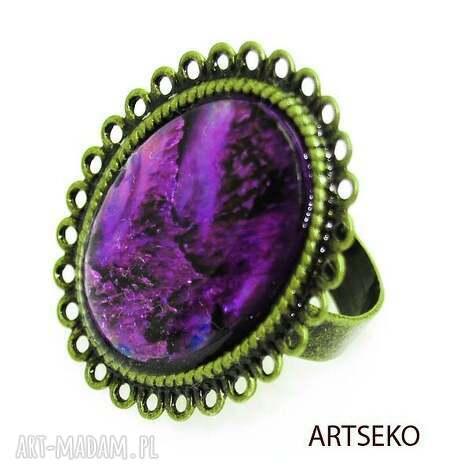 vitage paua fiolet pierścionek b440 (pierscionek, muszla, retro vintage)