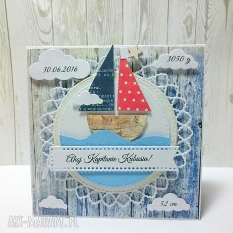 ahoj na Świecie mały marynarzu - zaproszenie, narodziny, marynarski, kartka