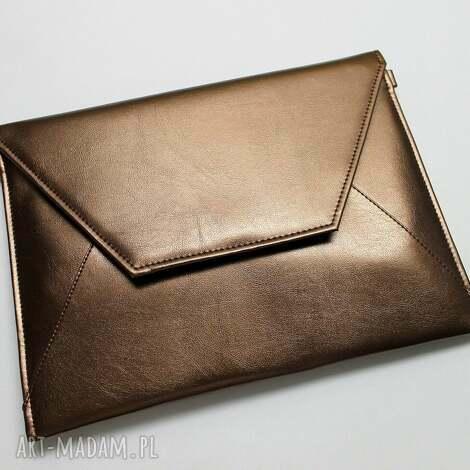 kopertówka - miedziana z perłowym połyskiem, elegancka, nowoczesna, połysk