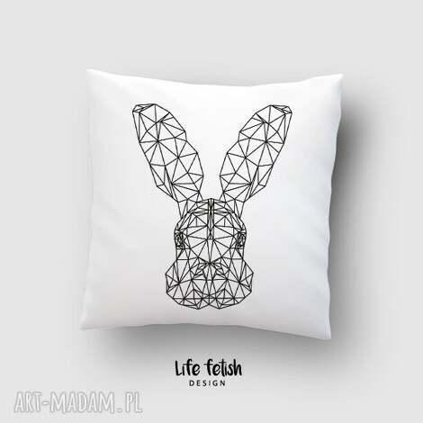 poduszka z zającem outline, poduszka, zając, królik, zajączek, poszewka, outline