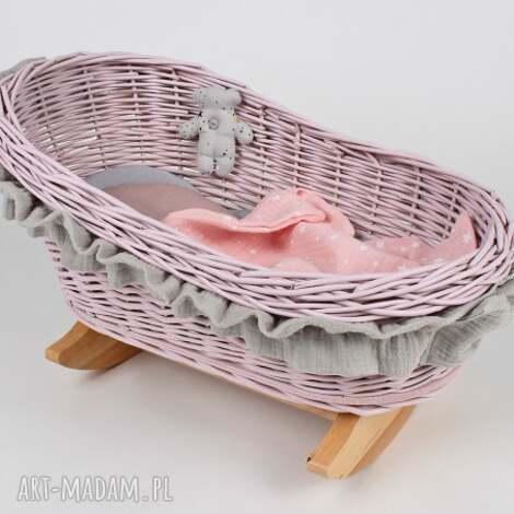wiklinowa kołyska różowa z pościelą muślinową, kołyska, swieta, prezent, dziecko