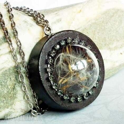 dmuchawcowe terrarium glamour naszyjnik z dmuchawcem pod szkłem - dmuchawce