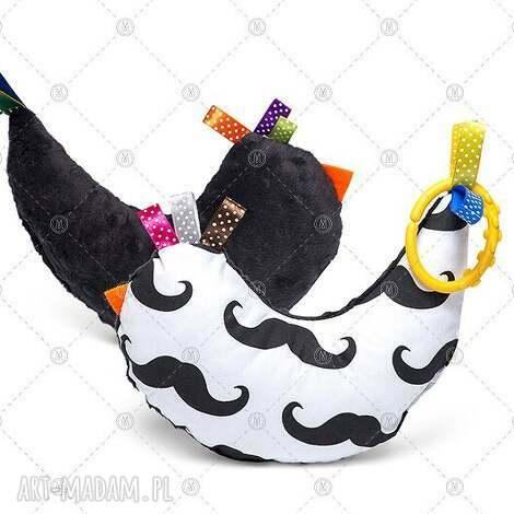 maskotki kurka przytulanka sensorek maskotka minky - czarne wąsy, kurk, kura