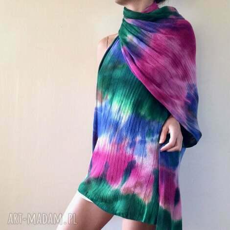 kolorowy wełniany szal w chłodnych odcieniach, wełna ciepły, prezent