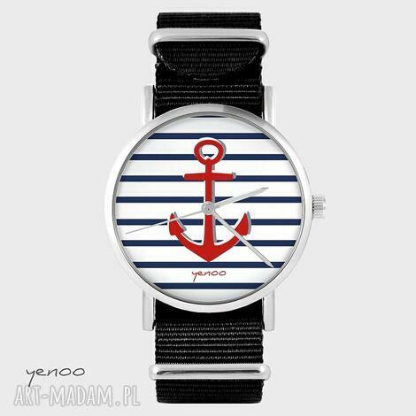 zegarki zegarek - kotwica czarny, nato, zegarek, bransoletka