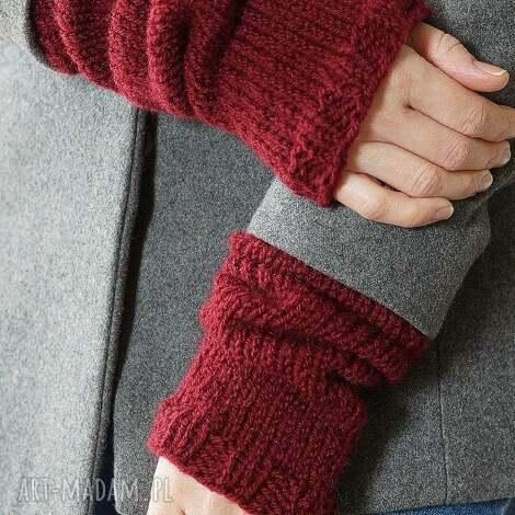bordowe rękawki - rękawki, dziergane, wełna, płaszcz