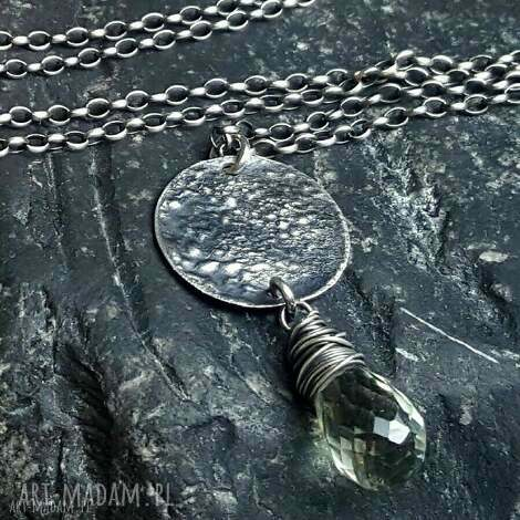 naszyjnik srebrny z fasetowaną kroplą zielonego ametystu - naszyjnik srebro