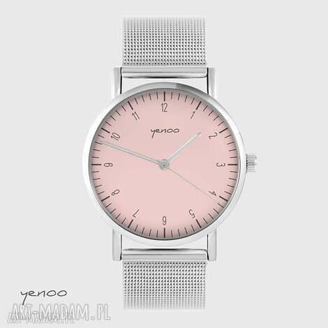 zegarek, bransoletka - simple elegance, różowy metalowy