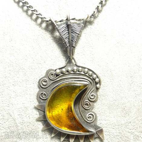 wisiorek srebrny z bursztynem oksydowany - srebro, oksydowany, czerniony, bursztyn