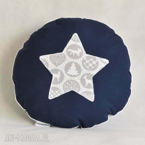 okrągła poduszka świąteczna szaro-granatowa, święta, gwiazdka, gwiazda dom