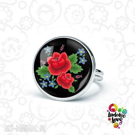 pierścionki pierścionek róże, folklor, folk, kwiaty, haftowane, ludowe, polskie