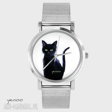 zegarek, bransoletka - czarny kot, biały, bransoletka, grafika