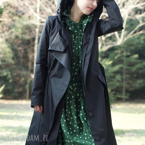 płaszcz przeciwdeszczowy czarny - kaptur, wodoodporny, przeciwdeszczowy, wiosenny