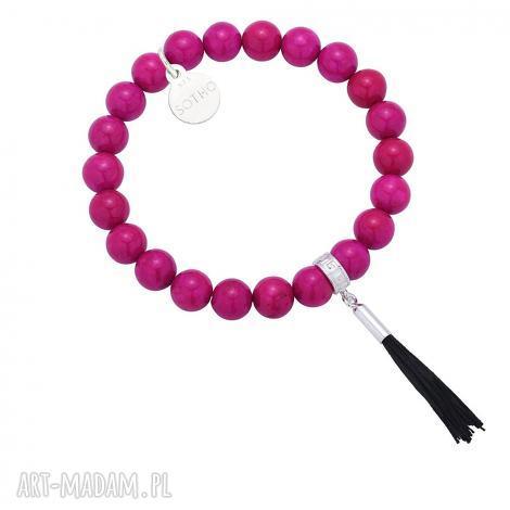 różowa bransoletka z marmuru zdobionego chwostem, bransoletka, rozowa, chwost, srebro