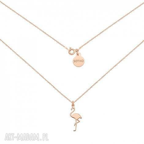 naszyjnik z flamingiem z rÓŻowego zŁota - modny, naszyjnik, flaming, zawieszka