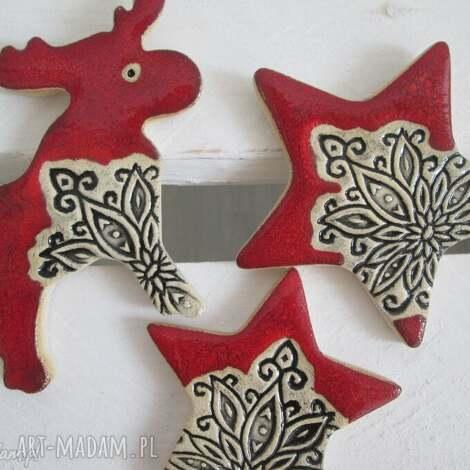 zestaw magnesów- renifer i gwiazdki, ozdoby, świąteczne, bożonarodzeniowe, upominki