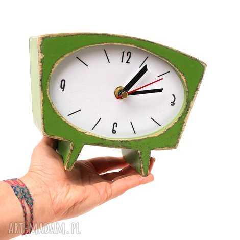 zegary zegar drewniany sixty zielony, zegar, drewno, malowany ręcznie, prezent