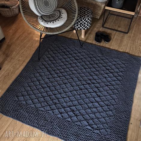 dywan ręcznie dziergany z grubego sznurka diamond 150x150cm, dywan