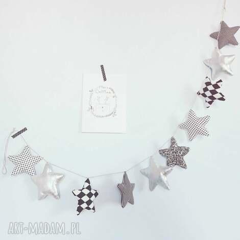 girlanda black white silver 145cm - girlanda, gwiazdki, stars, gwiazdeczki, srebro