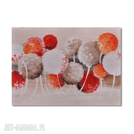 dmuchawce- kule nowoczesny obraz ręcznie malowany, kule, dnuchawce, nowoczesny