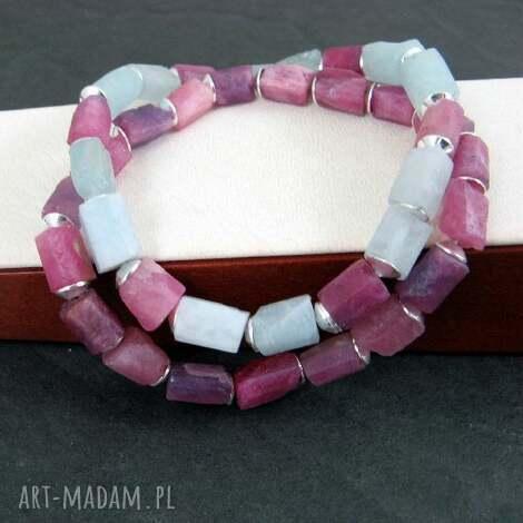 rubin i akwamaryn bransoleta, rubin, biżuteria, święta prezent