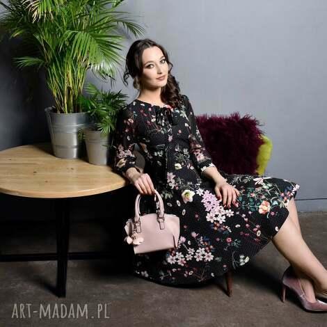 sukienki sukienka ebony midi aurelia, kropki, kwiaty, wiżanie, midi, kokarda