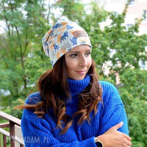 czapka bawełniana w pieski unisex, buldożki, mopsy, ciepła czapka, jesień