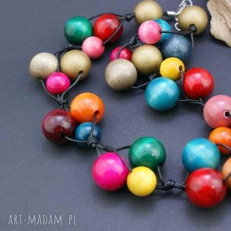 naszyjnik wielokolorowy drewniany - naszyjnik, korale, drewniane, kulki, kolorowy, folk
