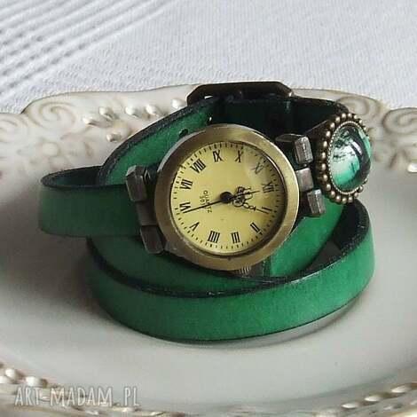 malowanaskrzynia zegarek vintage z grafiką skórzany szmaragdowy, bizuteria