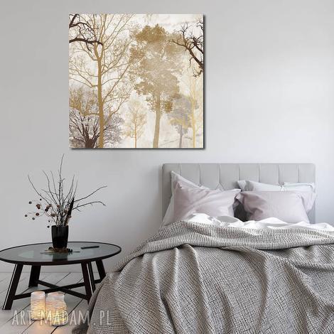 duże drzewo 14 -80x80cm obraz na płótnie beż brąz - obraz, drzewo