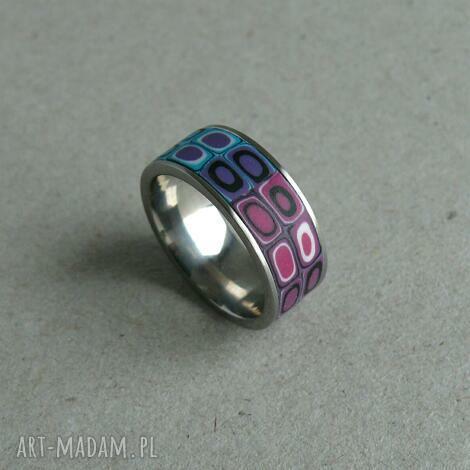 obrączka ze stali z fimo, obrączki, pierścionki, kolorowe fiolet, retro