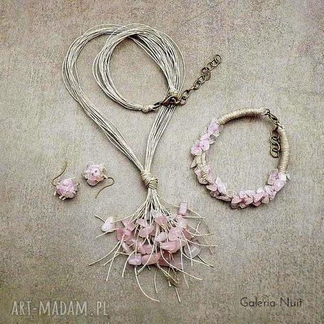 kwarc różowy - 3-częściowy komplet biżuterii, kwarc, pastelowy, jasny