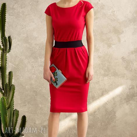 sukienki czerwona sukienka mono voyage, sukienka, mono, dopasowana, elegancka