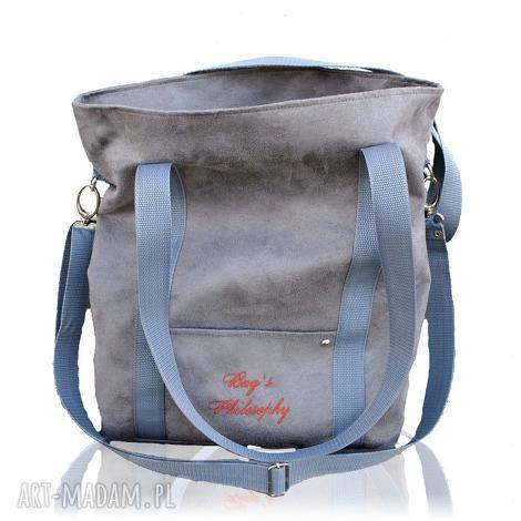 szara sportowa torba z zamszu ekologicznego w kształcie prostokąta, torba, miejska