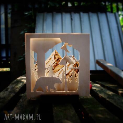świeczniki drewniany świecznik przez las - do gór, las, góry, prezent, natura, drewno