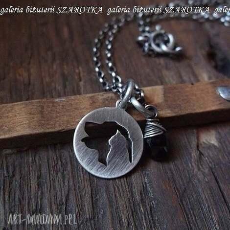 for a pet lover minimalistyczny naszyjnik z czarnego spinelu i srebra - spinel, srebro