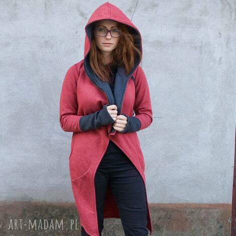 NavahoClothing: płaszcz asmi z kapturem, długa bluza, na zamek ciepła dresowa